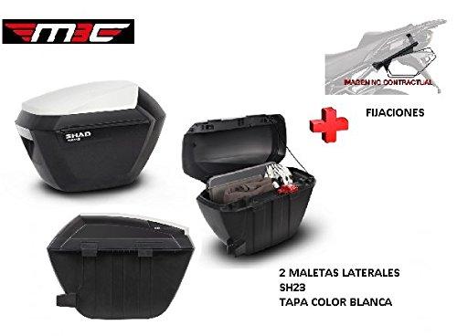 Kit SHAD fijacion+ Maletas Laterales Tapa Blanca SH23 Suzuki V-Strom 650 (12-16)