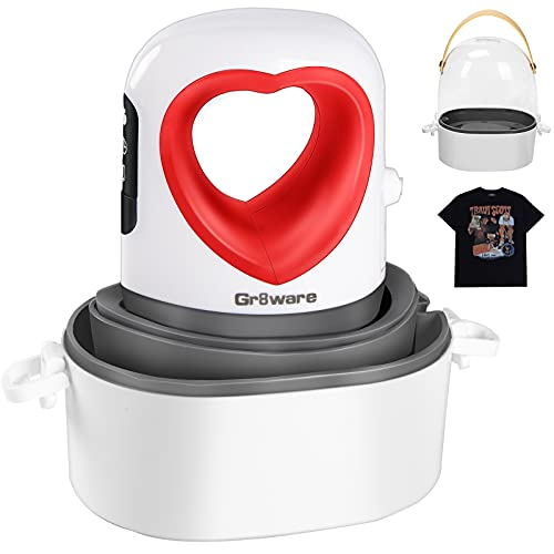 Mini Heat Press with Automatic Vibration, Gr8ware Upgraded 3.5'x2.3' Small Heat Press Machine for T Shirts Shoes Hats Bags and Masks, 150W Mini HTV Iron-On Rolls