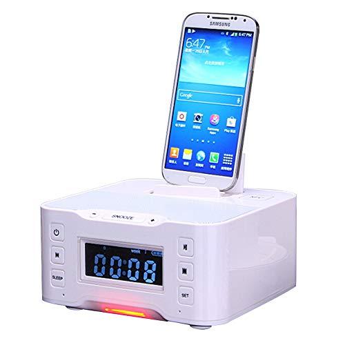 hll-036 Bocina Bluetooth Estación de Carga USB Blanco A9 con NFC Radio FM Despertador para iPhone 6 7 8 X Samsung Galaxy S6 S7 Note4