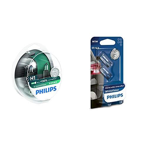 Philips 12258XVS2 X-treme Vision - Bombilla H1 +100% para faros delanteros (2 unidades) + 12961NBVB2 WhiteVision Efecto xenón W5W Lámpara automática, doble ampolla