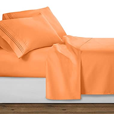 Clara Clark Premier 1800 Collection Deluxe Microfiber 3-Line Bed Sheet Set, Apricot Buff Orange, Queen Size