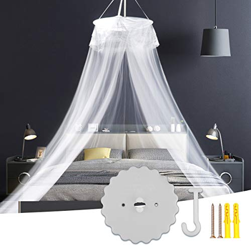 LINGSFIRE Mosquito Net, Universal Bed Mosquito Net, White Mosquito Net for Queen and Twin - Quick Easy Installation - Round Mosquito Net for Bed Keeps Away from Insects and Flies