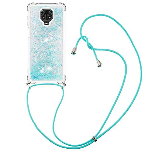 Nadoli Flowing Liquid Case for Xiaomi Redmi Note 9 Pro,Transparent Silicone Glitter Bling Moving Hearts Stars Shell Protective Crossbody Cover with Adjustable Lanyard Necklace Cord Strap
