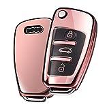 Funda Llave Audi, Carcasa Llave Audi A3 - Funda de protección Carcasa Suave de TPU para Llaves Audi A1 TT A4 A6 Q3 Q5 Q7 S3 R8 (Rosa Oro)