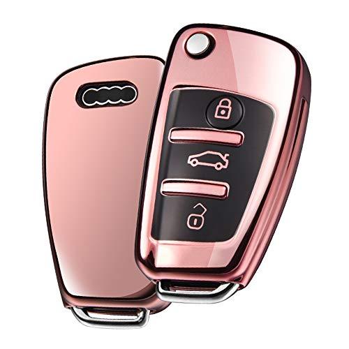 OATSBASF Funda Llave Audi, Carcasa Llave Audi A3 - Funda de protección Carcasa Suave de TPU para Llaves Audi A1 TT A4 A6 Q3 Q5 Q7 S3 R8 (Rosa Oro)