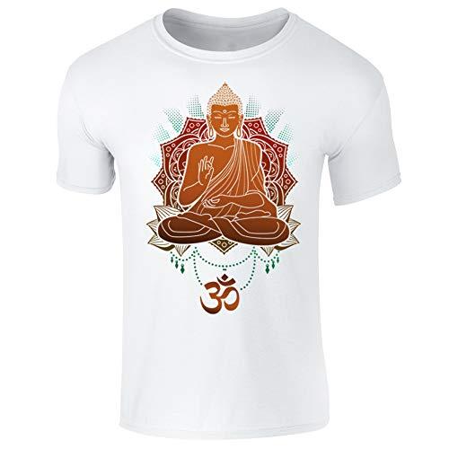 Buddha Om Buddhist Mandala Spiritual Buddhism Mens T-Shirt White (S)