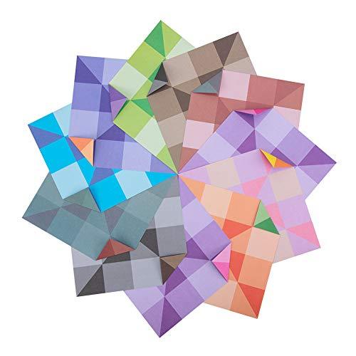 NBEADS 120 Hojas de Papeles de Origami Cuadrados de Doble Cara, 8 Colores Surtidos Patrón de Tartán Sólido Plegable Origami Craft Papers para Hacer Tarjetas Scrapbooking, 5cm