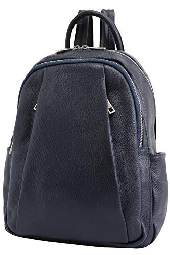AmbraModa Italienische Damen Rucksack Handtasche aus echtem Leder GL029 (Marineblau)