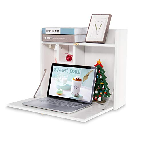 Wall Mounted Table Multifunctional Fold Down Wall Mounted Laptop Computer Desk with Storage Compartments for Home Office White