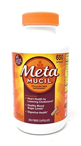 Metamucil Fiber 3-in-1 Psyllium Husk Capsules Supplement, Natural Digestive Health,650 Capsules