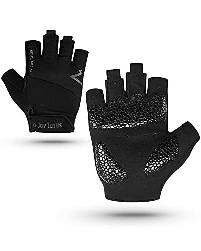 Cycling Gloves Fingerless, Bike Gloves Unisex Anti-slip Shock-absorbing Pad Breathable Half Finger Bicycle Biking Sports Gloves for Men Women MTB Mountain Gloves Summer-Black+M