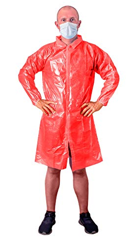 Red Lab Coat. Unisex Disposable polyethylene Labcoat. XL Size. Liquid-Proof Workwear. Protective Non-Woven Visitor Coat. PE Coated Laboratory Coats for Men Women. Lightweight Breathable Waterproof