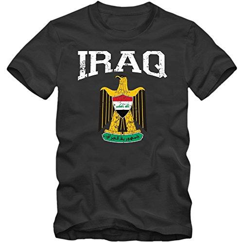 Irak Wappen T-Shirt Republik Iraq Saladin-Adler Bagdad Herrenshirt, Farbe:Schwarz (Deep Black L190);Größe:M