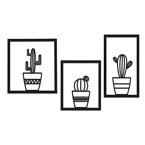 Soft Art Home Arte de pared moderno triple cactus decoración de pared de metal 3 piezas para el hogar. Jarrón de cactus, decoración interior para oficina y sala de estar