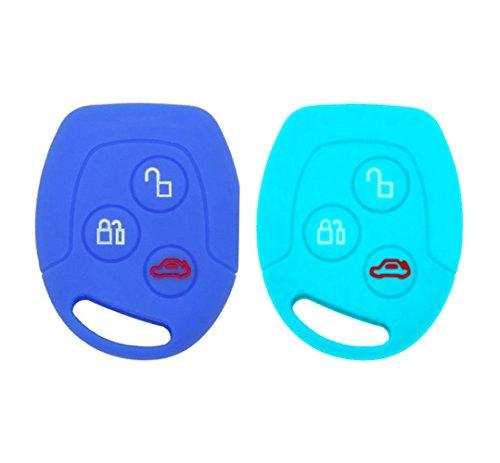 YLC 2 Piezas Silicona Funda para Llave de Coche Car Key Cover para Ford Mondeo Festiva Fiesta Focus 3 Botones(Azul Marino + Azul Claro)