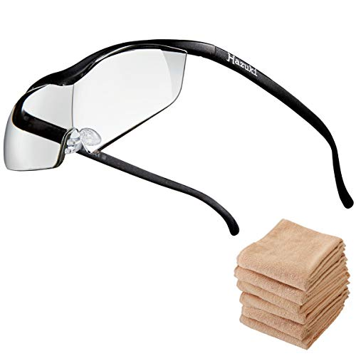 Hazuki ハズキルーペ ラージ 1.6倍 ブルーライト対応 クリアレンズ 黒 (全9色) 【正規代理店品・メーカー保証付】 セブンエステ製フェイスタオル付 [ ハズキ 拡大眼鏡 拡大鏡 拡大レンズ 拡大メガネ 眼鏡型 めがね型 メガネタイプ 眼鏡 メガ
