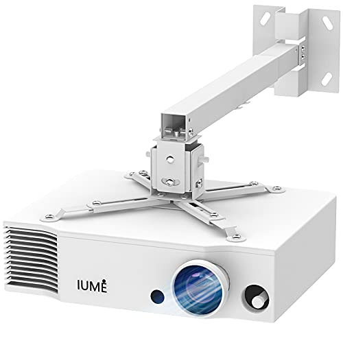 White Projector Mount , Extending Wall Ceiling Projection Bracket Height Adjustable Projection, 44 pounds Load Capacity with Universal LCD/DLP Mounting for Epson,Optoma, Benq, ViewSonic Projectors