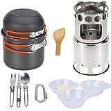 LAANCOO Juego de Utensilios de Acampada Acampar Pot Kit de Picnic cocinar al Aire Libre se Pone con vajilla de la Estufa por Mochilero Trekking Naranja