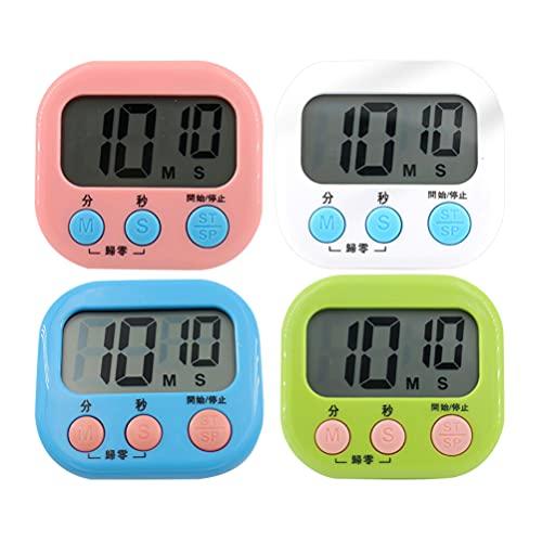 Temporizador de cocina digital de 4 dígitos grandes temporizador de cuenta regresiva reloj alarma fuerte cronómetro para cocinar huevos hirviendo juegos deportivos aula de estudio niños