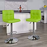 Flash Furniture Contemporary Green Quilted Vinyl Adjustable Height Barstool with Chrome Base