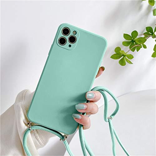 Tybiky Funda para iPhone 12 Mini mármol brillante Necklace, funda extraíble con cordón para colgar, funda de silicona para teléfono móvil con banda – Cordón con funda para colgar, azul cielo