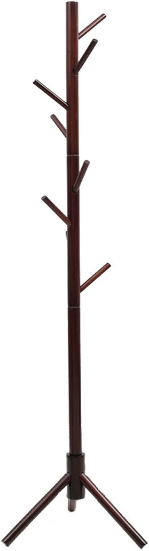 Floor Solid Wooden Coat Racks Bedroom Hanging Hanger Hanging Hats Simple Tractor Clothes Rack (color   Brown)