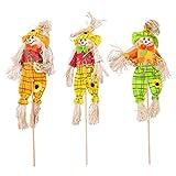 Amosfun 3 piezas de Halloween espantapájaros barra decoración de fiesta decoraciones columpios para el salón de clase, suministros de muñeca de paja (40 cm, estilo aleatorio, 3 unidades embaladas)