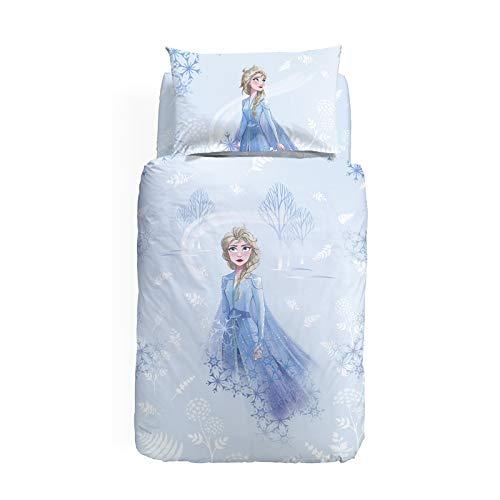 L'EMPORIO CASA CALEFFI Copripiumino Frozen Elsa in Cotone 100% Una Piazza Singolo, Un Lenzuolo 90x200 cm con Angolo Max 25cm Un Copripiumino 155x200+45 cm 1 Federa 50x80
