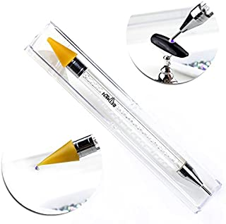 NMKL38 Dual Ended Wax Nail Rhinestones Picker Pencil Nail Art Design Dotting Pen Crystal Diamond Acrylic Handle Manicure Gem Pick Up Applicator Tool with Storage Case (Clear)