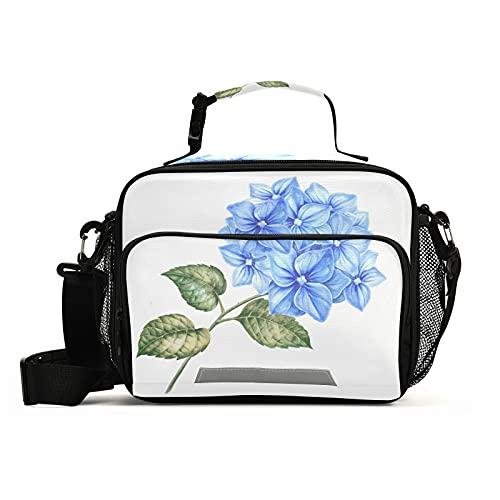 HMZXZ Blossom Hydrangea Flowers - Bolsa de almuerzo aislada con correa ajustable para el hombro extraíble, contenedor reutilizable para mujeres, hombres, picnic, trabajo, escuela, oficina