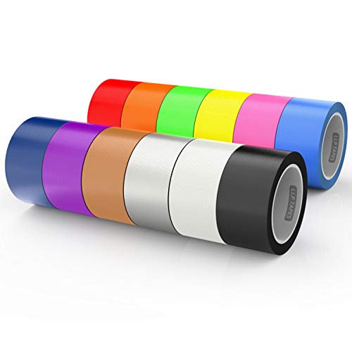 LLPT Duct Tape 12 Premium Assorted Color Packs 2 Inch x 30 Feet x 11 Mil Included Blue Pink Yellow Green Orange Red Black White Brown Silver Purple (DT612)