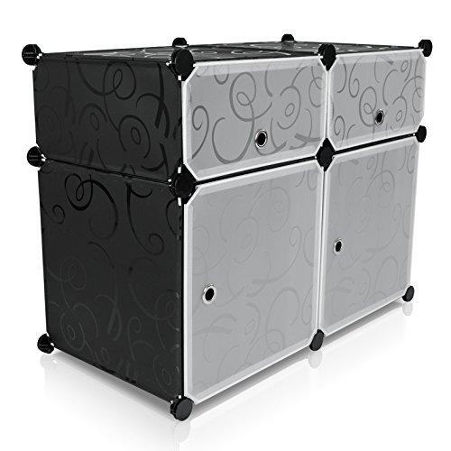 Grinscard Universal Steckschrank aus Stoff - 4 Modulfächer mit Türen, Schwarz/Weiß - Frei gestaltbares DIY Regalsystem