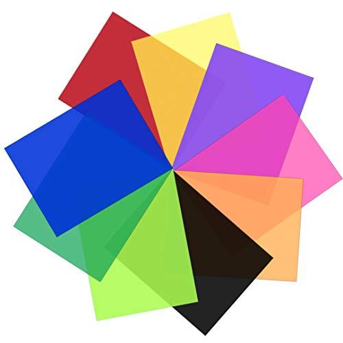 9 Stück transparente Farbkorrektur-Lichtfilter – Farbiger Gel-Filter, Kunststofffolie, 20 x 30 cm, 9