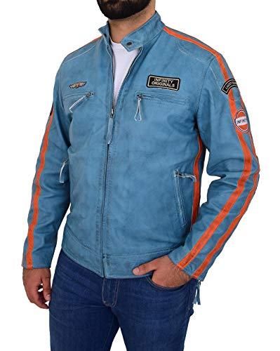 A1 FASHION GOODS Herren Modisch Biker Lederjacke Denim Blau Racing Stripes Abzeichen Designer Mantel Jack (L - EU 50)