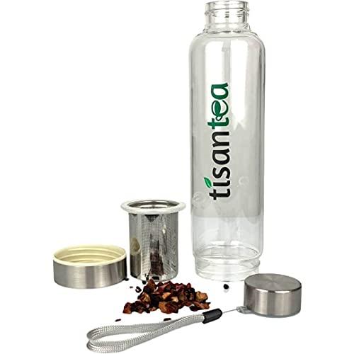 Bottle - Borraccia in vetro borosilicato da 500 ml con Infusore estraibile per tè, tisane e infusi, con custodia. Tisantea