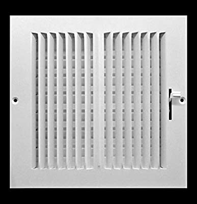 """8""""w x 8""""h 2-Way FIXED CURVED BLADE AIR SUPPLY DIFFUSER - Vent Duct Cover - Grille Register - Sidewall or Cieling - High Airflow - White"""
