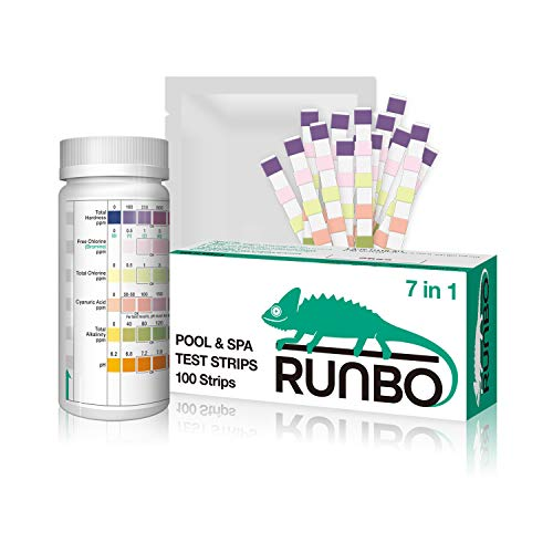 RUNBO 7 in 1 Pool & SPA Quality Testing Strips Easy and Accurate Test Free Chlorine, Total Chlorine, Bromine, Total Hardness, Total Alkalinity, pH and Cyanuric Acid. 100 Counts