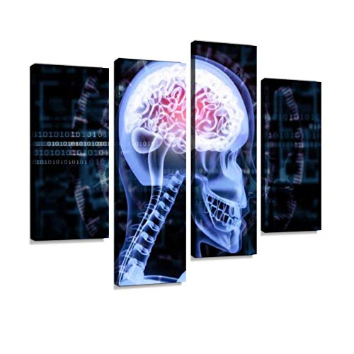 YKing1 Human Brain x ray View on Scientific Background x ray Stock Pictures Wall Art Painting Pictures Print On Canvas Stretched & Framed Artworks Modern Hanging Posters Home Decor 4PANEL
