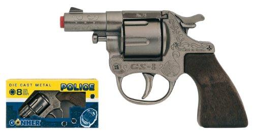 Il complemento perfetto per il costume da cowboy o sceriffo. Revolver modellato a pressione, con 12 colpi. Adatta a bambini di 12 anni.