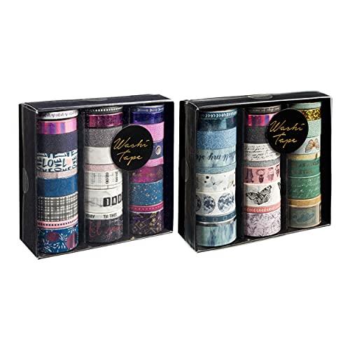 CraftSensations Dekoratives Klebeband für Scrapbooking, Handwerk und Bullet Journals, 2 Schachteln mit jeweils 24 verschiedenen Washi Tapes für alle DIY Begeisterten, assortierte Motive