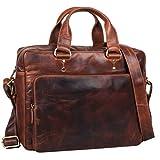 STILORD 'Joshua' Vintage Businesstasche Leder groß Herren Laptoptasche 13.3 Zoll Bürotasche Aktentasche Dokumententasche Umhängetasche echtes Rinds-Leder, Farbe:Siena - braun