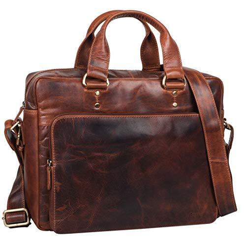 STILORD 'Joshua' Vintage Businesstasche Leder groß Herren Laptoptasche 13.3 Zoll Bürotasche Aktentasche Dokumententasche Umhängetasche echtes Rinds-Leder, Farbe:Siena...