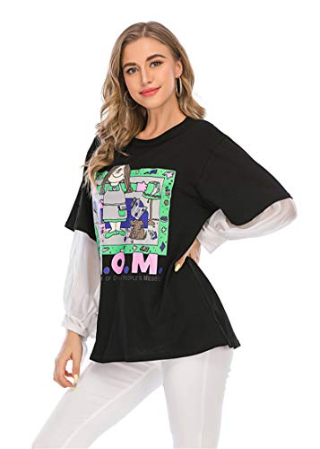 SLYZ Estilo Europeo Y Hermoso Otoño Nueva Personalidad Moda Tops Falsos De Dos Piezas, Camisetas De Manga Larga, Tops Sueltos