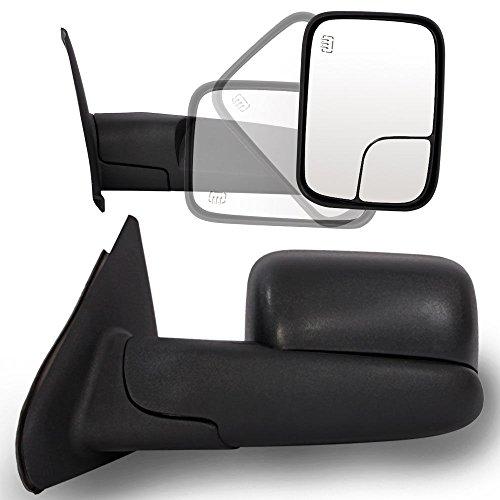 Roadstar Towing Mirrors Fit for 02-08 Dodge Ram 1500 03-09 Dodge Ram 2500 3500 Pickup Truck Power Heated Tow Extend Flip Up Power Heated Folding Side View Black Mirror Pair Set