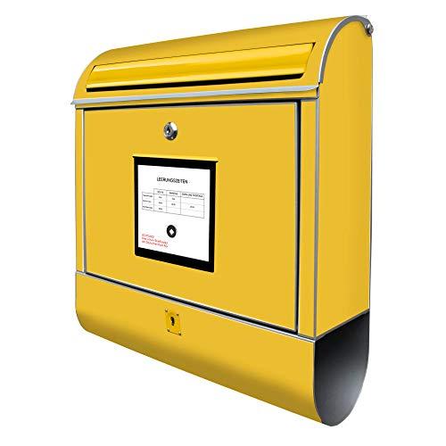 Banjado Design Briefkasten mit Motiv Briefkasten Gelb | Stahl pulverbeschichtet mit Zeitungsrolle | Größe 38x47x14cm, 2 Schlüssel, A4 Einwurf, inkl. Montagematerial