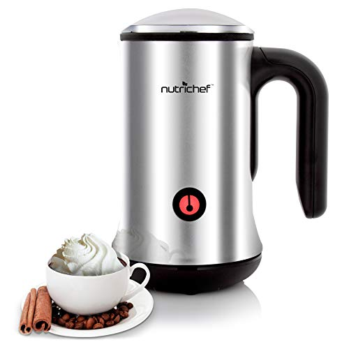 Electric Milk Warmer and Frother - 2-in-1 Automatic Hot or Cold Milk Steamer Heater Foamer Blender, Froth Foam Maker for Latte Cappuccino Coffee Drink, Silver Stainless Steel - NutriChef
