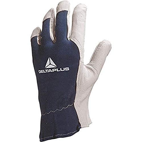 Deltaplus CT402BL07 Handschuh Aus Ziegenleder / Rücken Aus Jersey, Natur-Blau, Größe 07