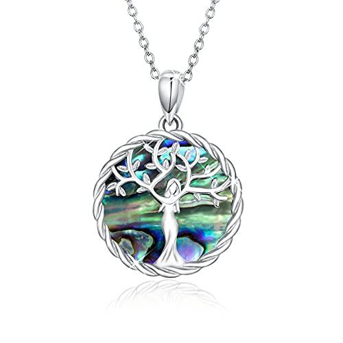 Collar de árbol de la vida Plata de ley 925 Collar Abulón Collar con Colgante de árbol Genealógico Regalos Familiares Joyería del árbol de la vida para Mujeres Niñas