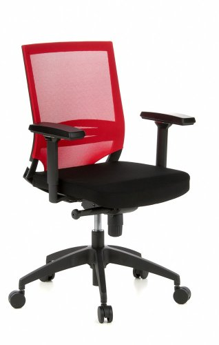 hjh OFFICE 657233 Profi Bürostuhl Porto Base Stoff/Netz Rot Drehstuhl ergonomisch, Armlehnen & Lordosenstütze verstellbar