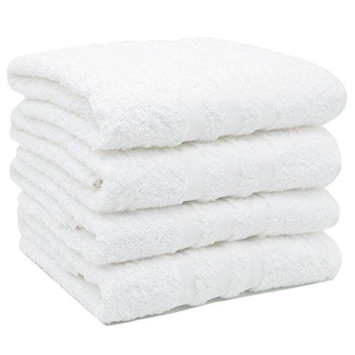 ZOLLNER set van 4 handdoeken, 50x100 cm, 100% katoen, 550g/sqm, wit